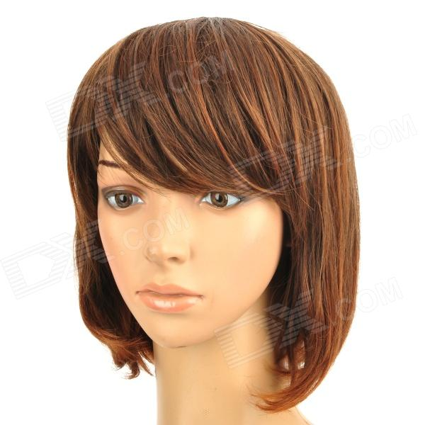 Cosplay Theme Party Makeup Neat Bang Short Curly Hair Wig - Brown