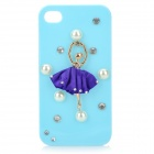 Protective Ballet Girl Style Back Case w/ Crystalfor Iphone 4 / 4S - Light Purple