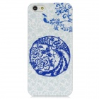 Protective Paper-Cut Art Style Plastic Back Case for Iphone 5 - White + Blue