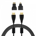 3-in-1 HDMI Male to Male HD AV Connection Cable w/ Mini HDMI + Micro HDMI Adapters - Black (180cm)