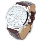NARY 6033 PU Leather Band Analog Quartz Wrist Couple Watch for Men - White + Brown (1 x 377A)