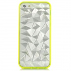 Protective 3D Diamond Pattern Back Case for iPhone 5 - Transparent + Fluorescent Yellow