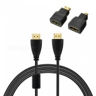 HDMI Male to Male HD Audio Video Connection Cable w/ Micro + Mini HDMI Adapter - Black (5m)