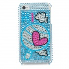Protective Heart Pattern Bling Back Case for Iphone 4 / 4S - Blue + Deep Pink + Silver