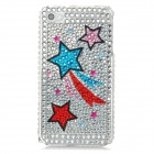 Protective Star Pattern Bling Back Case for Iphone 4 / 4S - Silver + Red + Blue