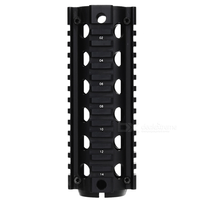 AR Fishbone Style Steel Handguard Gun Cover Quad Rail Mount System for M4 / M16 - Black