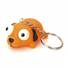 Pop Out Eyes Stress Reliever Relief Squeeze Dog Doll Toy Keychain - Orange