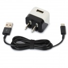 AC Charger w / USB 8 Pin Lighting Cable für iPhone 5 - Black + White (US-Stecker / 100 ~ 240V)