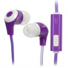 In-Ear Stereo Earphone w/ Microphone Clip for Iphone + Samsung - Purple + White (110CM-Length)