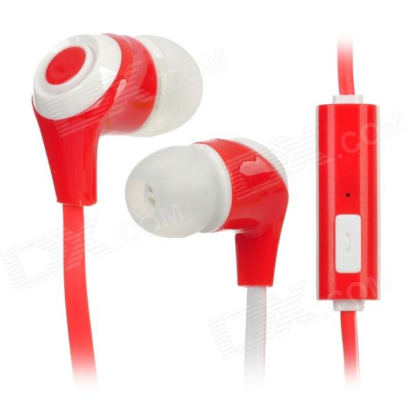 In-Ear Stereo Earphone w/ Microphone Clip for Iphone + Samsung + More - Red + White (110CM-Length) original xiaomi mi hybrid earphone in ear 3 5mm earbuds piston pro with microphone wired control for samsung huawei p10 s8