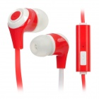 In-Ear Stereo Earphone w/ Microphone Clip for Iphone + Samsung + More - Red + White (110CM-Length)