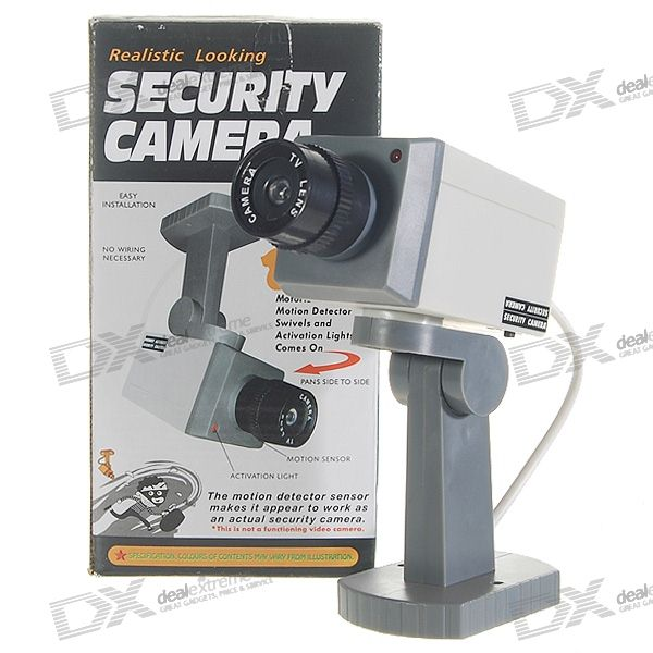 PIR Motion Activated Swivel Realistic Dummy Decoy Security Camera with Blinking LED (3*AA)