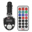 "LSON 0.9"" LCD Multi-Function Car MP3 Player FM Transmitter + IR Remote Controller - Black (TF / USB)"