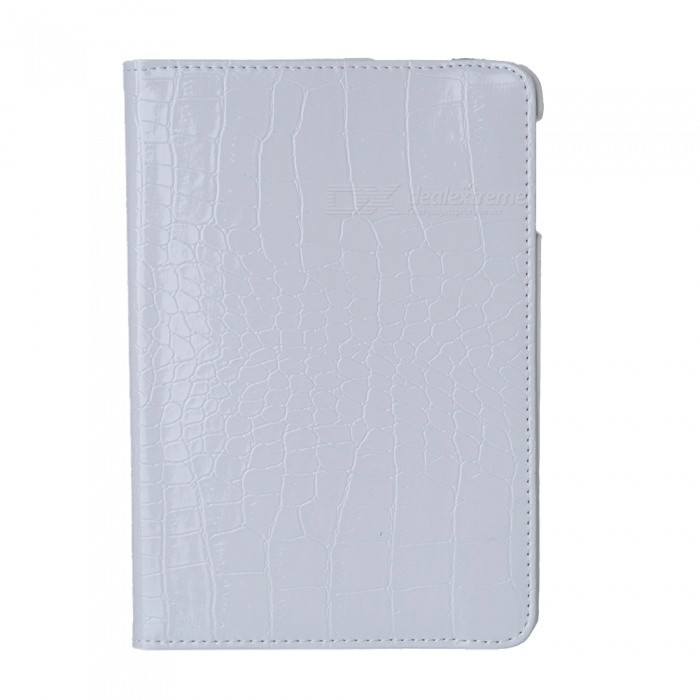 360 Degree Rotatable Alligator Pattern PU Leather Case for Ipad MINI - White