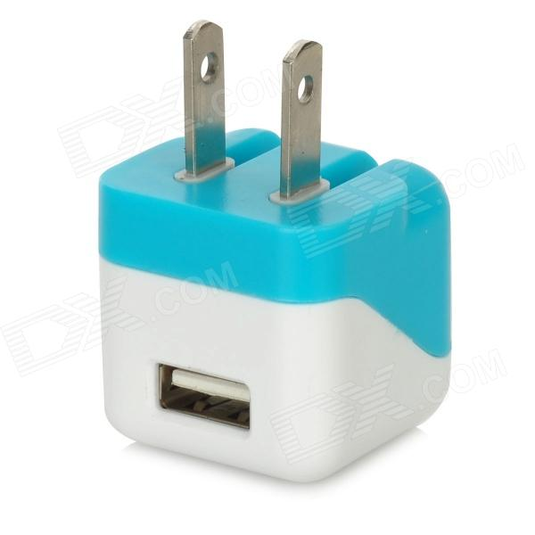 USB Power Adapter Charger for Iphone - White + Blue (US Plug / 100~240V)