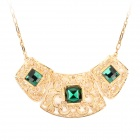 Fashion Albronze Chain Rhinestone Pendant Hook-up Neck Decoration Necklace - Golden + Green
