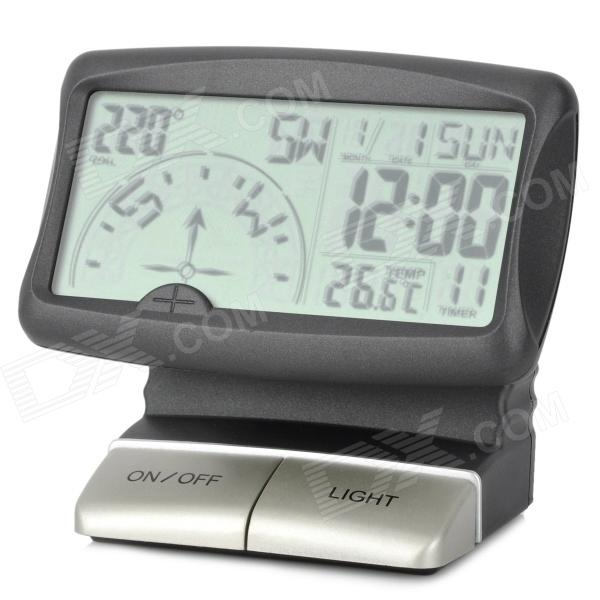 PR-166 3.5 LCD Multifunction Car Digital Compass - Black + Silver (3 x AAA)
