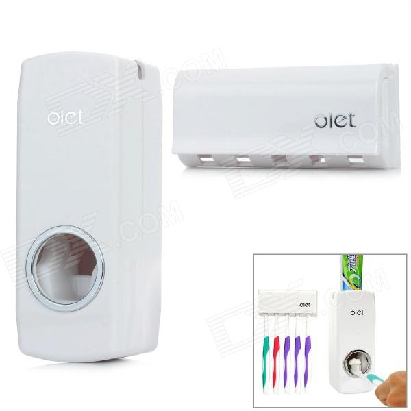 Olet HQS-Y34659 Automatic Toothpaste Dispenser w/ Toothbrush Holder - White ezwin creative automatic toothpaste dispenser w toothbrush holder tumbler white pink