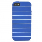 Stylish Stripe Pattern Protective TPU Soft Back Case for Iphone 5 - Blue + White