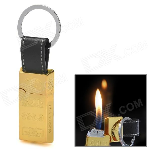 Gold Bar Style Alloy Butane Yellow Flame Jet Lighter w/ PU Leather Keychain - Light-Gold + Black