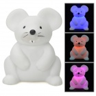 Waterproof Cute 3-LED Seven-Color Lighting Mouse Toy - White (1 x G10)