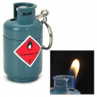 Cool Gas Jar Shape Butane Yellow Flame Lighter w/ Keychain - Grey Blue + Red + Black