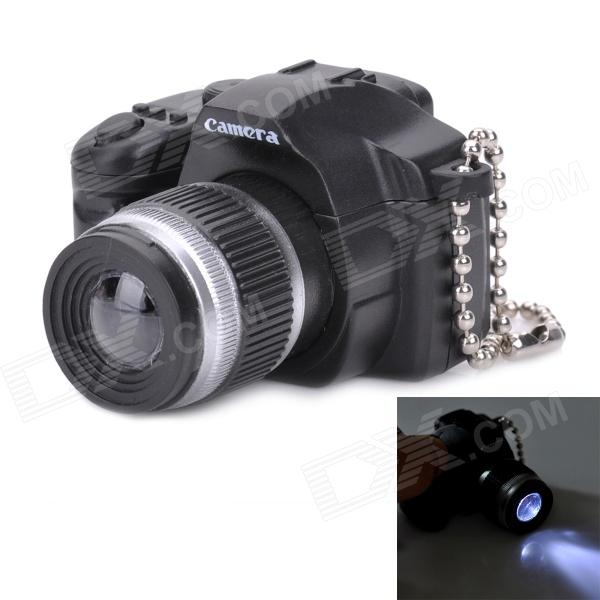 DSLR Lens Shape Keychain w/ LED - Black + Silver (3 x AG13) slr telephoto lens led white light keychain w sound effect yellow black orange 3 x ag13