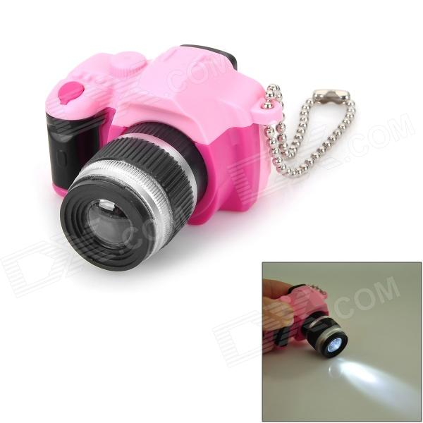 DSLR Lens Shaped LED Keychain - Deep Pink + Pink + Black + Silver (3 x AG13) slr telephoto lens led white light keychain w sound effect yellow black orange 3 x ag13