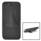 Cute Large Nose Style Protective Silicone Soft Back Case for Iphone 5 - Black