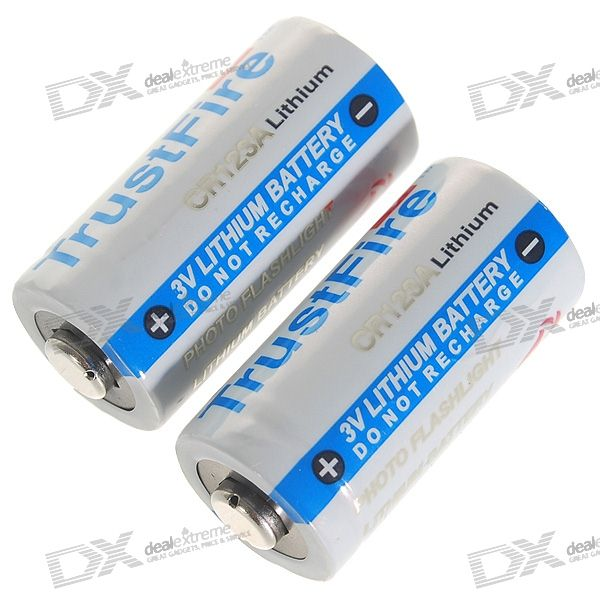 TrustFire CR123A 3.0V 900mAh Primary Lithium Batteries (2-Pack) trustfire protected 14500 3 7v 900mah rechargeable lithium batteries 2 pack