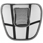 Mesh Fabric + Steel Car Back Cushion w/ Massage Beads - Black