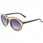 SENLAN 6236 Retro UV400 Protection Acetate + PU Frame PC Lens Sunglasses - Black + Golden