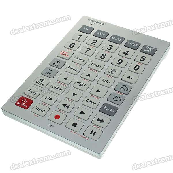 Chunghop RM-A4 Universal TV/VCR/CBL/SAT/Dual DVD 6-Device Remote Controller Tablet (3*AAA)
