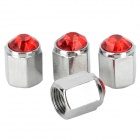 Car Tire Valve Caps w/ Crystal - Red + Silver (4 PCS)