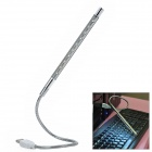 USB Flexible Metal White 10-LED Light for Laptop Notebook - Silver