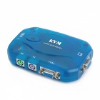 Automatic 2-Port Auto KVM Switch w/ VGA / PS2 - Translucent Blue
