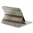 Cool Snake Pattern Protective PU Leather Case Cover for Ipad 4 / The New Ipad - Black Gray