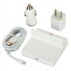 US Plug AC Power Charger + Car Charger + Charging Dock Station + Blitz 8-Pin-Stecker-Kabel - White