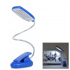Flexible Clip-On White 28-LED Desk Light Lamp - Blue + Silver (3 x AAA or USB Powered)