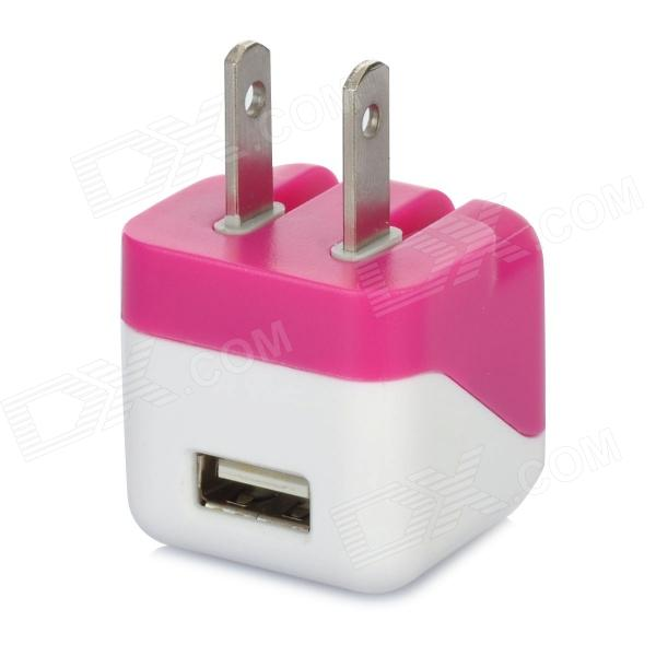 AC Power Charger Adapter for Iphone - White + Deep Pink (AC 100~240V / US Plug)