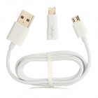 USB 2.0 Male to Micro USB Male Cable + Micro USB Female to Lightning 8-Pin Male Adapter - White