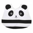 Cute Panda Pattern Baby Water Resistant Saliva Towel Bib w/ Buckle - White + Black