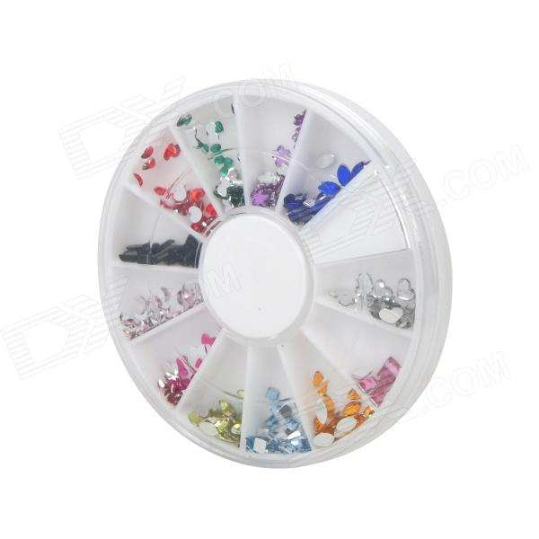 DIY 12-in-1 Nail Art Cell Phone Decoration Acrylic Rhinestones Set - Multicolored новые времена blu ray