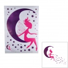 Jiaming JM8225 Moon Fairy Pattern PVC Papier Wandaufkleber - Purple + Deep Pink (50 x 70cm)