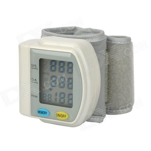 WB-811 1.75 LCD Wrist Blood Pressure Pulse Meter - White + Grey (2 x AA) 1 7 lcd pulse scanning wrist watch blood pressure monitor blue white 2 x aaa