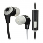 Flat Stereo In-Ear Earphones w/ Mic / Clip for Iphone / HTC / Samsung - Black + White (3.5mm Plug)