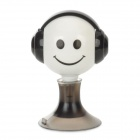 Smiley Face Pattern 3.5mm Audio 1-Male to 2-Female Splitter w/ Suction Cup Stand - White + Black