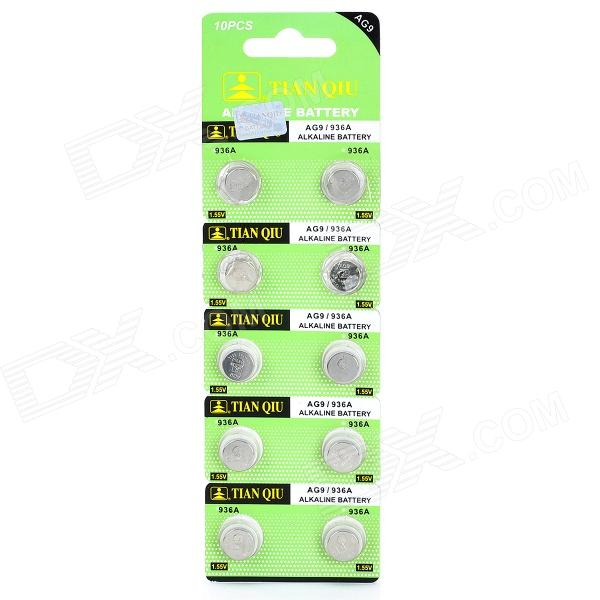 TianQiu AG9/LR936A 1.55V Alkaline Cell Button Battery - Silver (10 PCS) стоимость