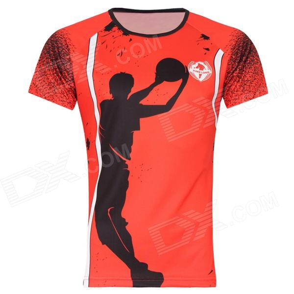 Release Moisture Wicking Quick Drying Playing Basketball Pattern Polyester T-Shirt - Red (Size XXXL)