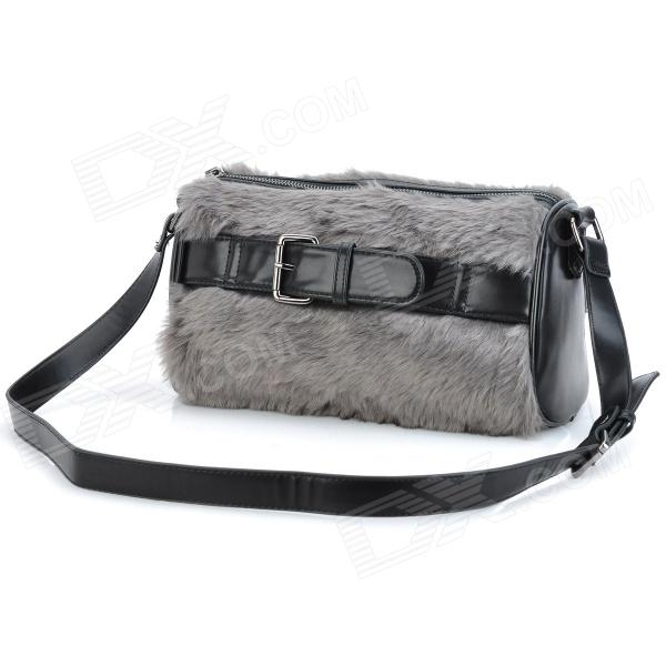 JUST STAR 170551-11 Fashion Women's Simulation Rabbit Hair Handbag / Shoulder Bag - Grey + Black